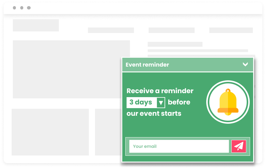 Popup event countdown